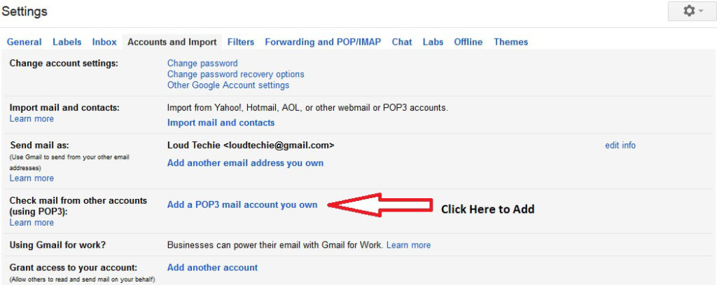 Add a POP3 mail account you own