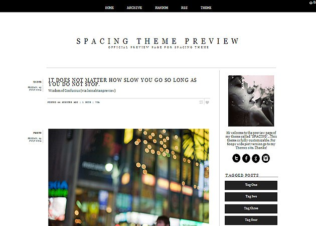 SPACING free tumblr theme