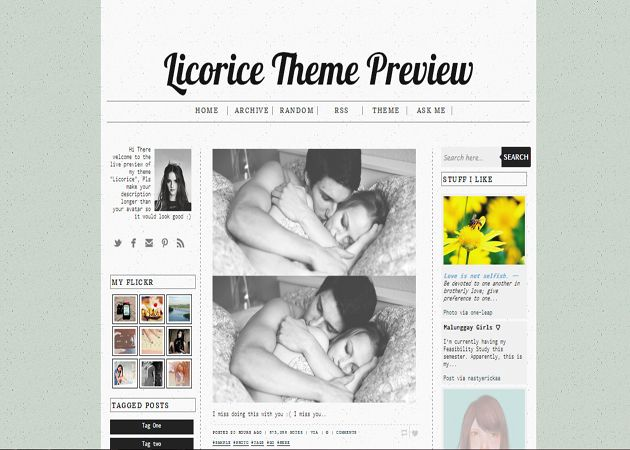 Licorice free tumblr theme