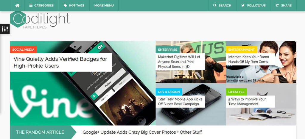 Codilight SEO optimized wordpress theme