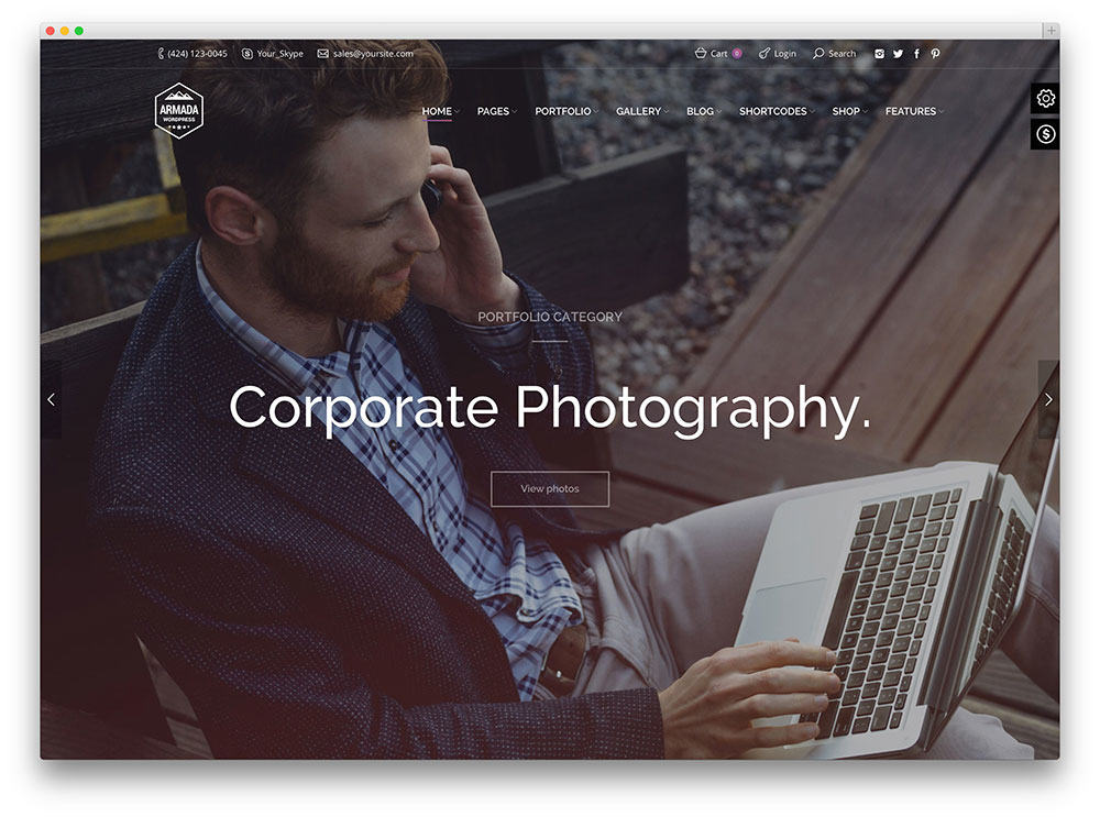 Armada SEO friendly Photography WordPress Theme