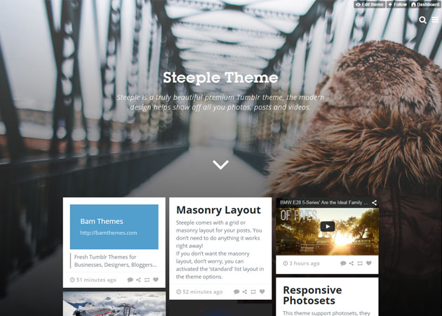 Steeple free tumblr theme