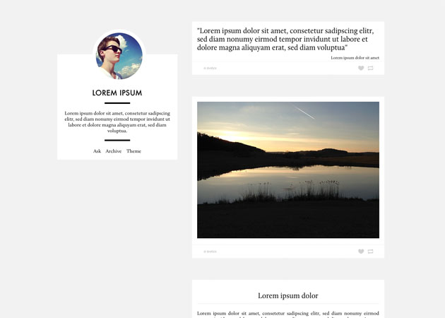 Glump free tumblr theme