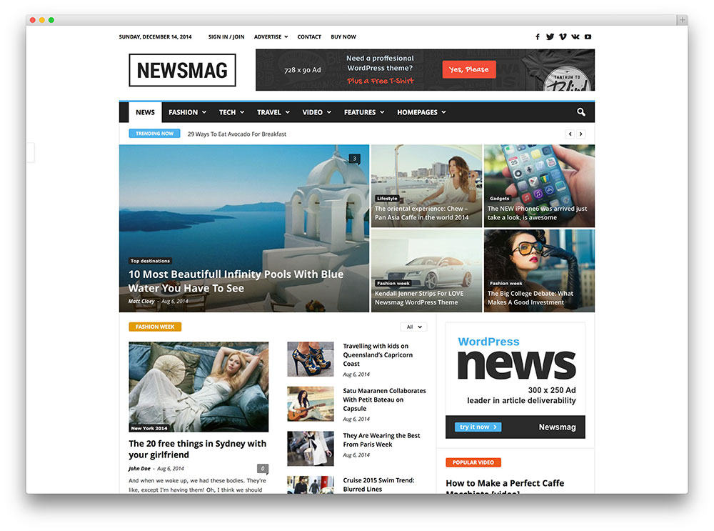 Newsmag SEO friendly magzine theme