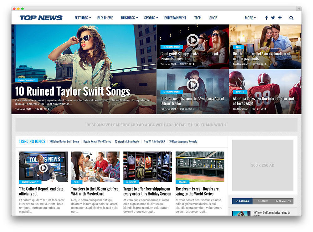 Top News SEO optimized WordPress theme