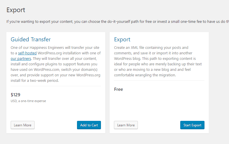 Wordpress Backup export